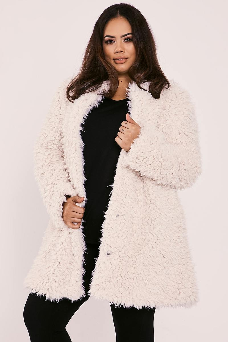 CURVE JAZEL CREAM FLUFFY LONGLINE COAT