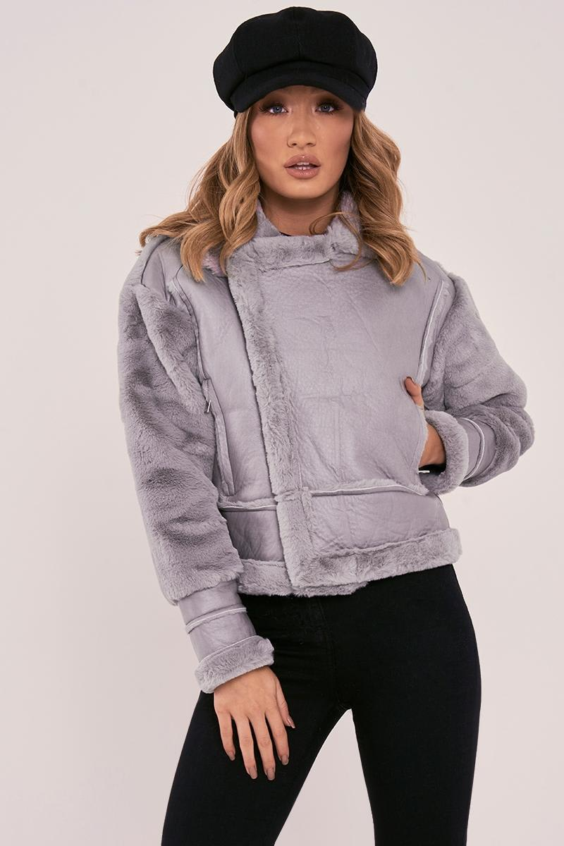 grey faux fur lined aviator jacket