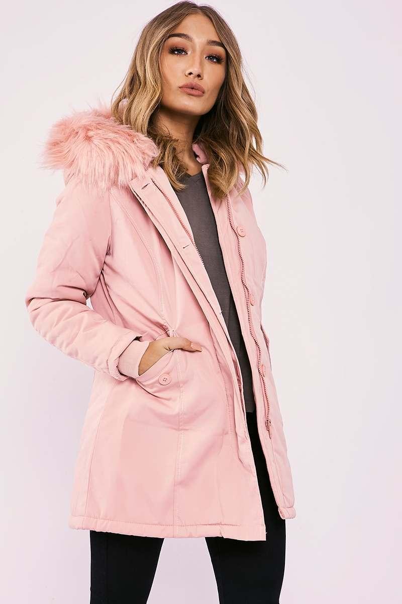 pink faux fur hooded parka jacket
