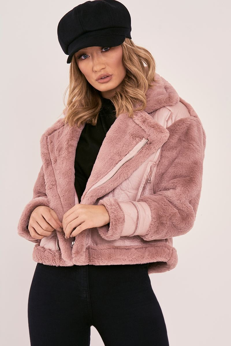 LIZANN PINK FAUX FUR LINED AVIATOR JACKET