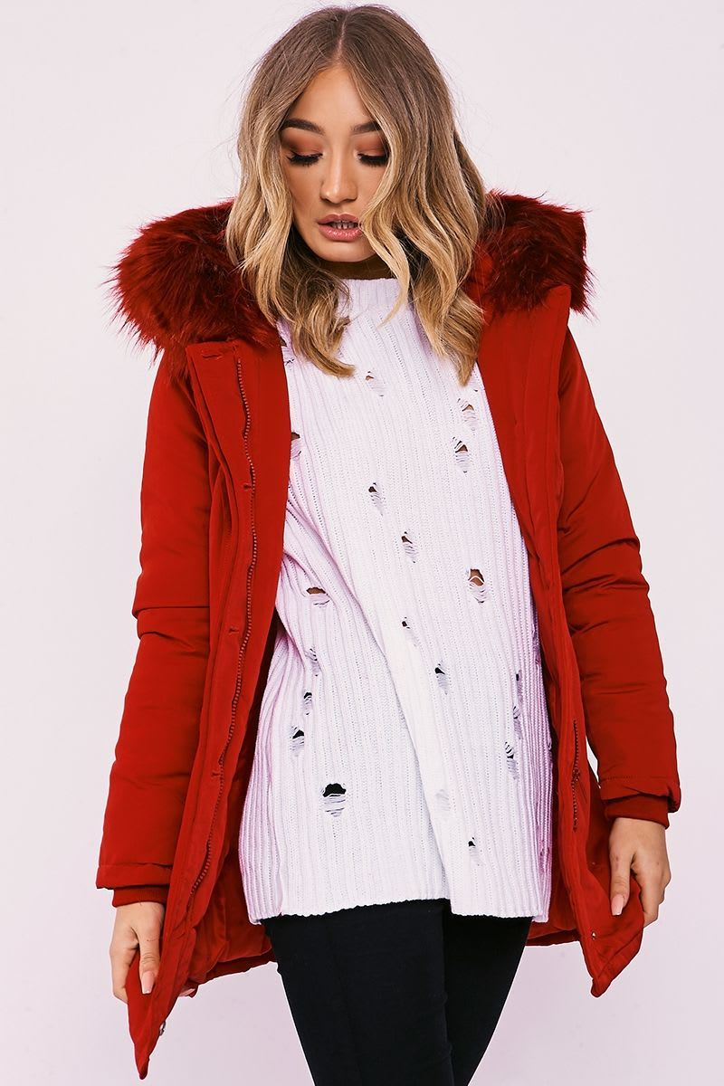 KAYLYNN RED FAUX FUR HOODED PARKA JACKET