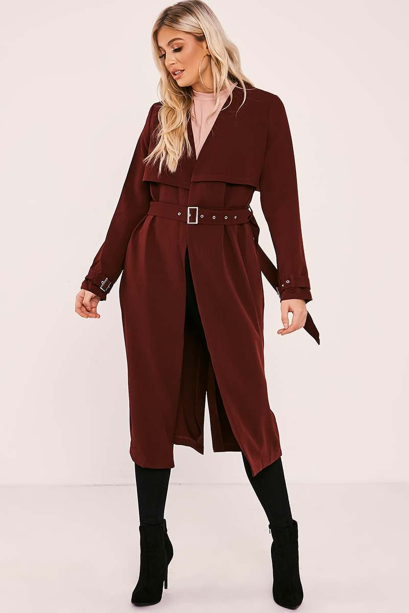 burgundy belted duster jacket