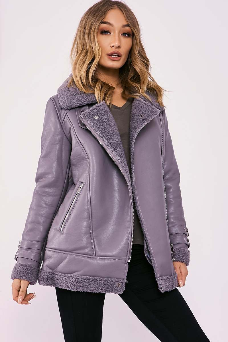 grey faux leather aviator jacket