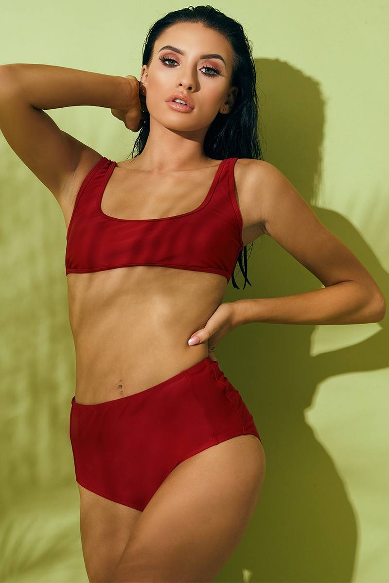RED MIX & MATCH SCOOP BIKINI TOP