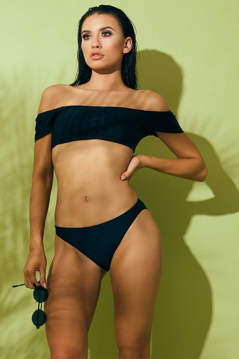 BLACK MIX & MATCH BARDOT BIKINI TOP
