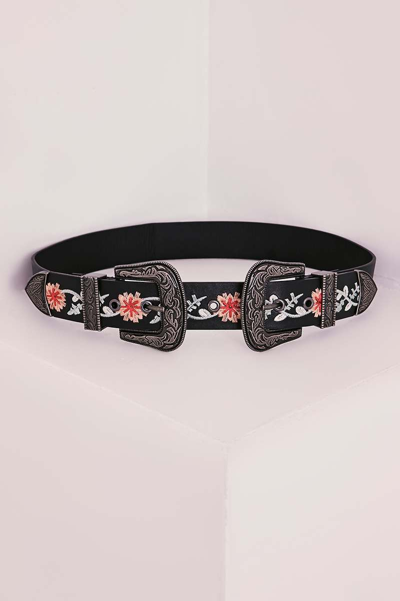 BLACK FLORAL EMBROIDERED DOUBLE BUCKLE WESTERN BELT