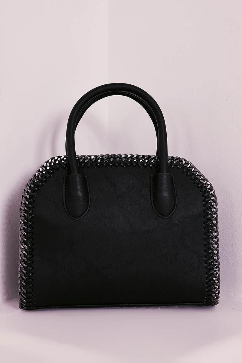 BLACK FAUX LEATHER CHAIN TRIM BAG