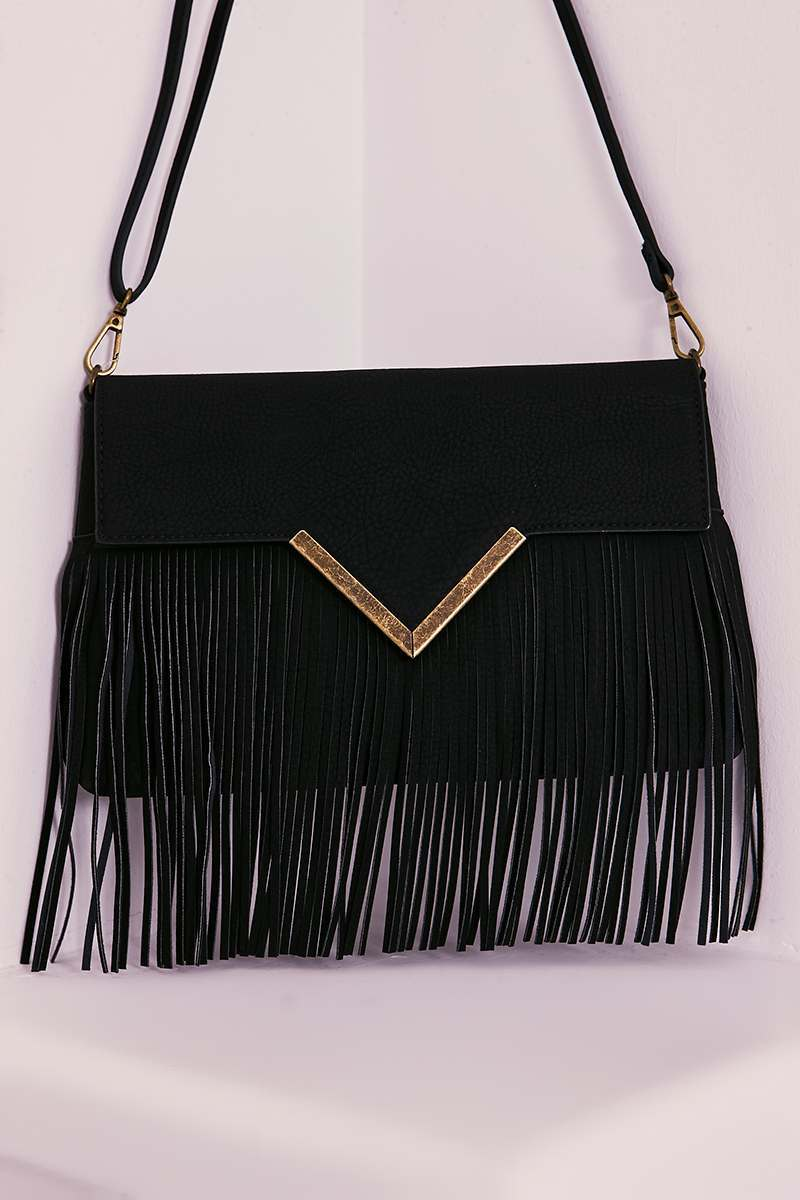 BLACK FAUX LEATHER TASSEL BAG