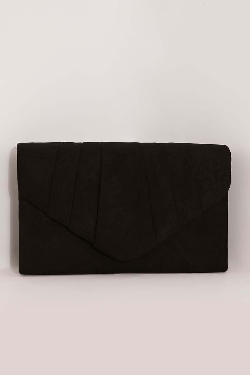 BLACK FAUX SUEDE FOLD OVER CLUTCH BAG