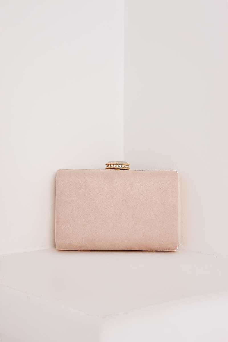 NUDE FAUX SUEDE HARD CLUTCH BAG