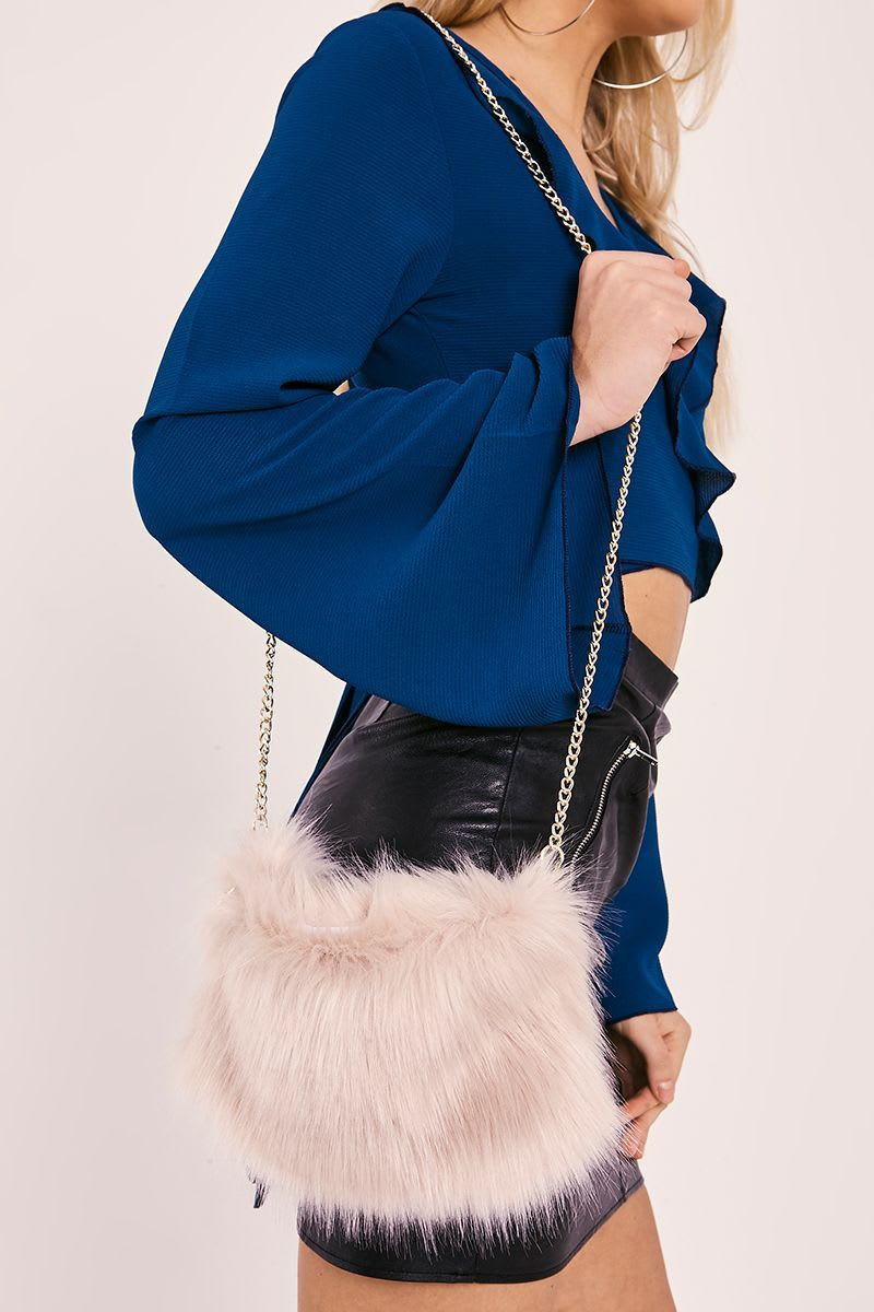 NUDE FAUX FUR BAG