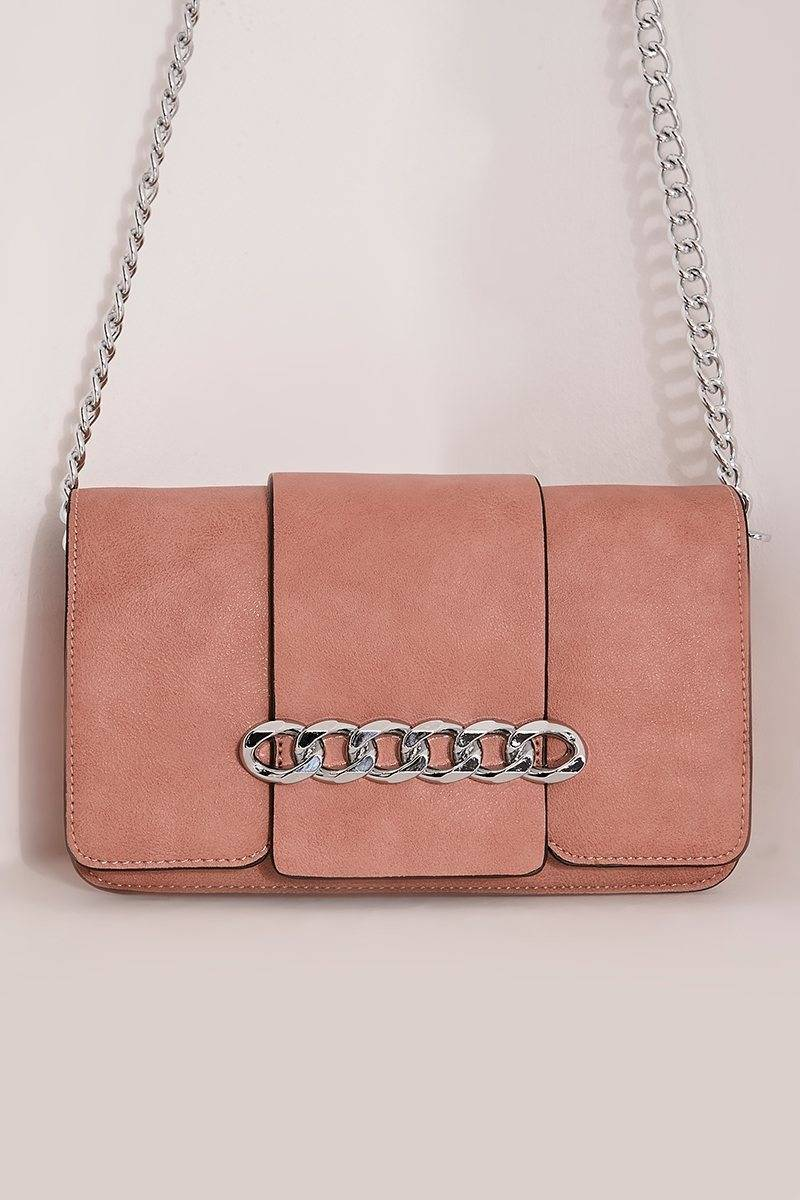 PINK FAUX LEATHER CHAIN BUCKLE BAG