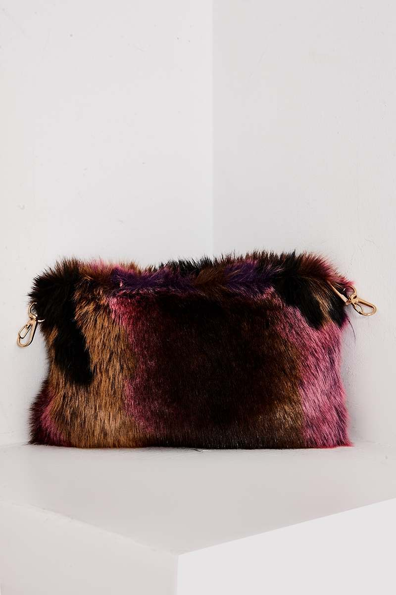 PINK MIXED FAUX FUR BAG