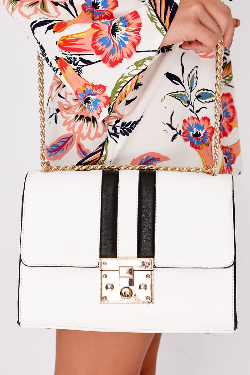 WHITE FAUX LEATHER CONTRAST STRIPE BAG