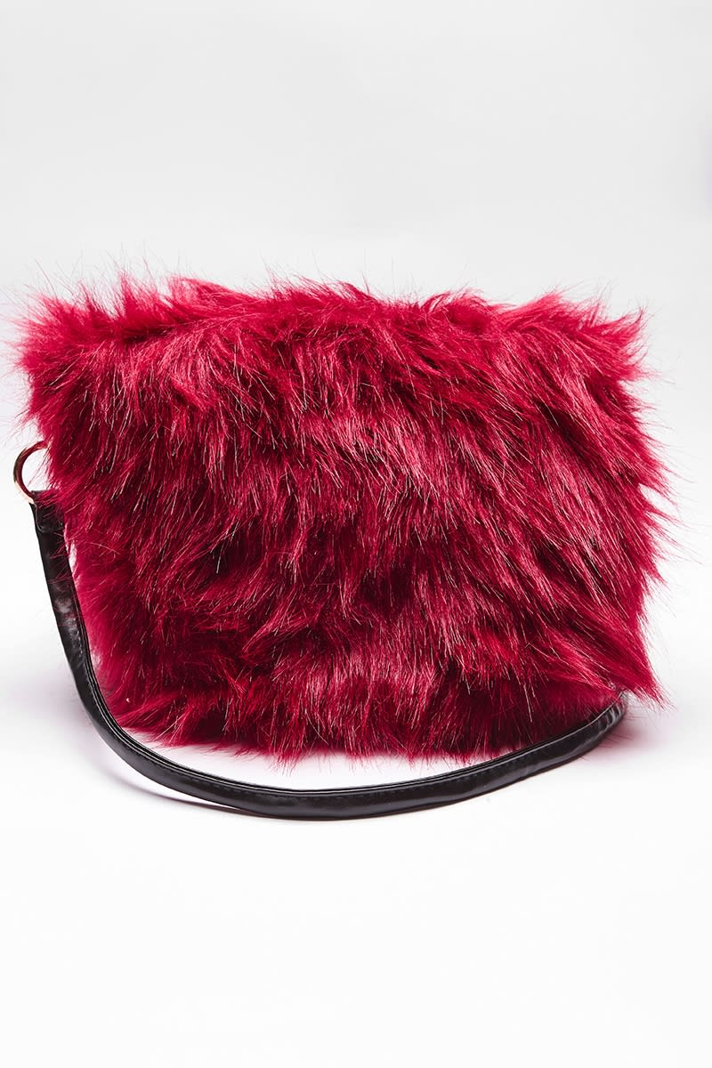 WINE LARGE FAUX FUR BAG