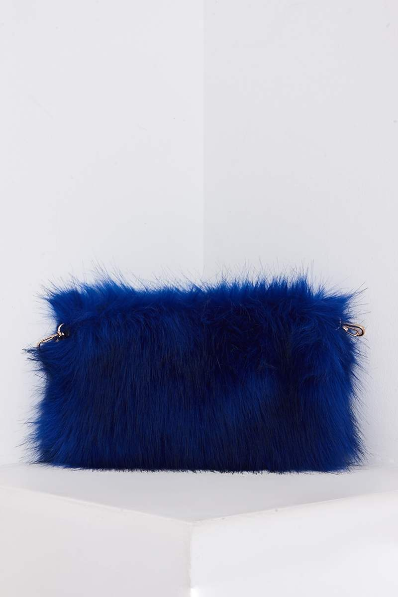 COBALT BLUE FAUX FUR BAG