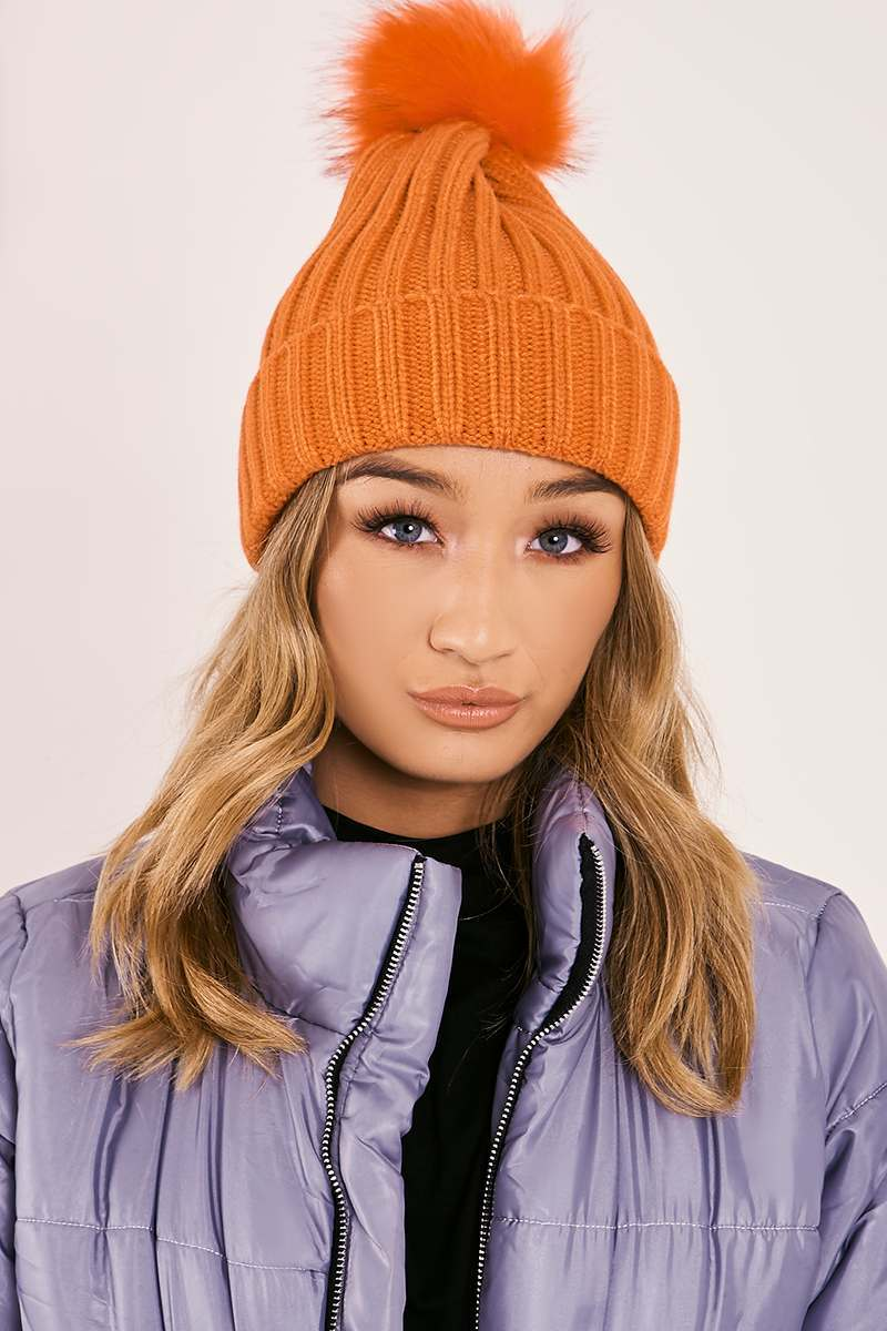 ORANGE FAUX FUR POM POM BEANIE