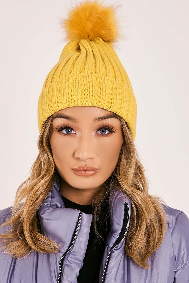 YELLOW FAUX FUR POM POM BEANIE