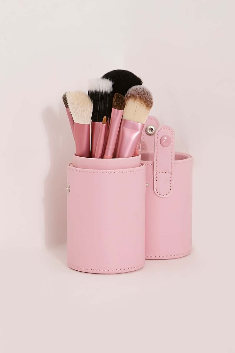 PINK TRAVEL MAKE UP BRUSH SET
