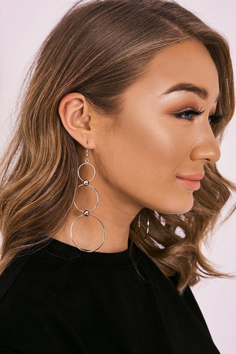ROSE GOLD TRIPLE CIRCLE DROP EARRINGS