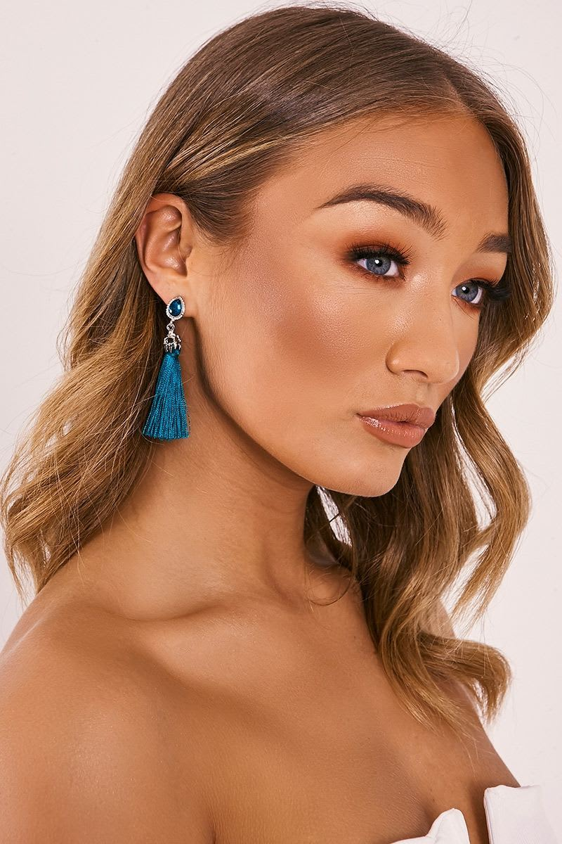 TEAL JEWEL TASSEL EARRINGS