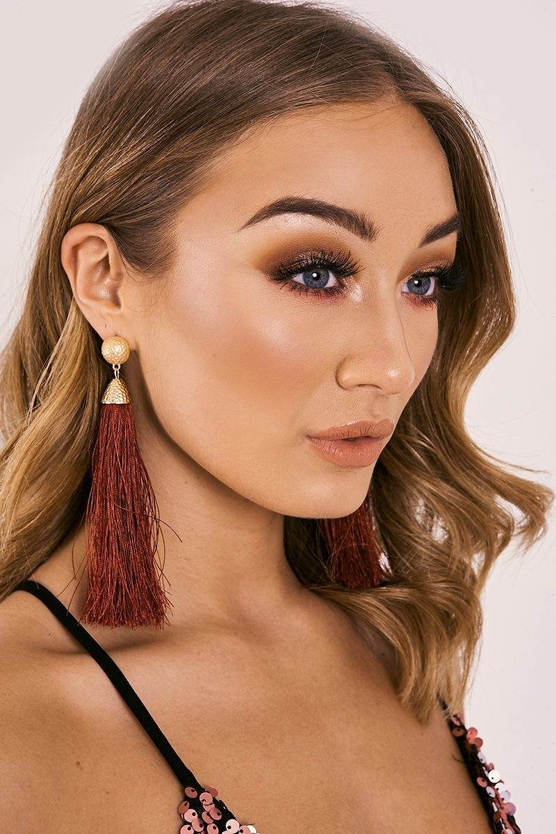 WINE LONG TASSEL EARRINGS