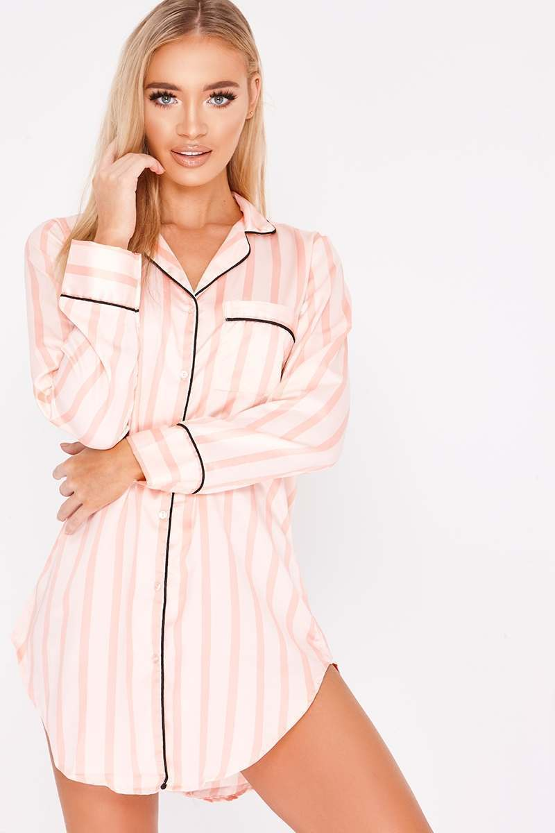 EBBA PINK PINSTRIPE PIPING DETAIL NIGHT DRESS