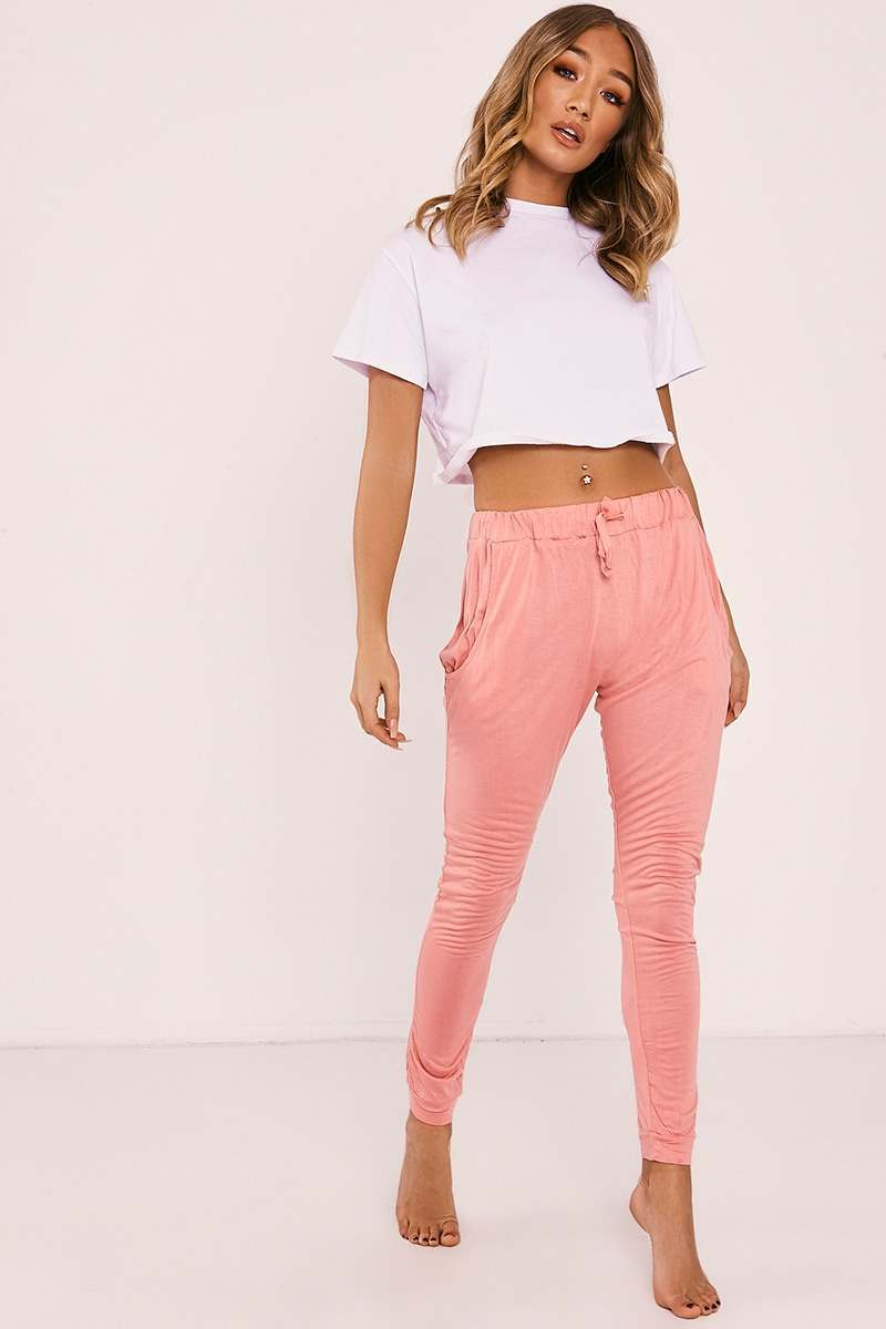 pink jersey drawstring waist pyjama bottoms
