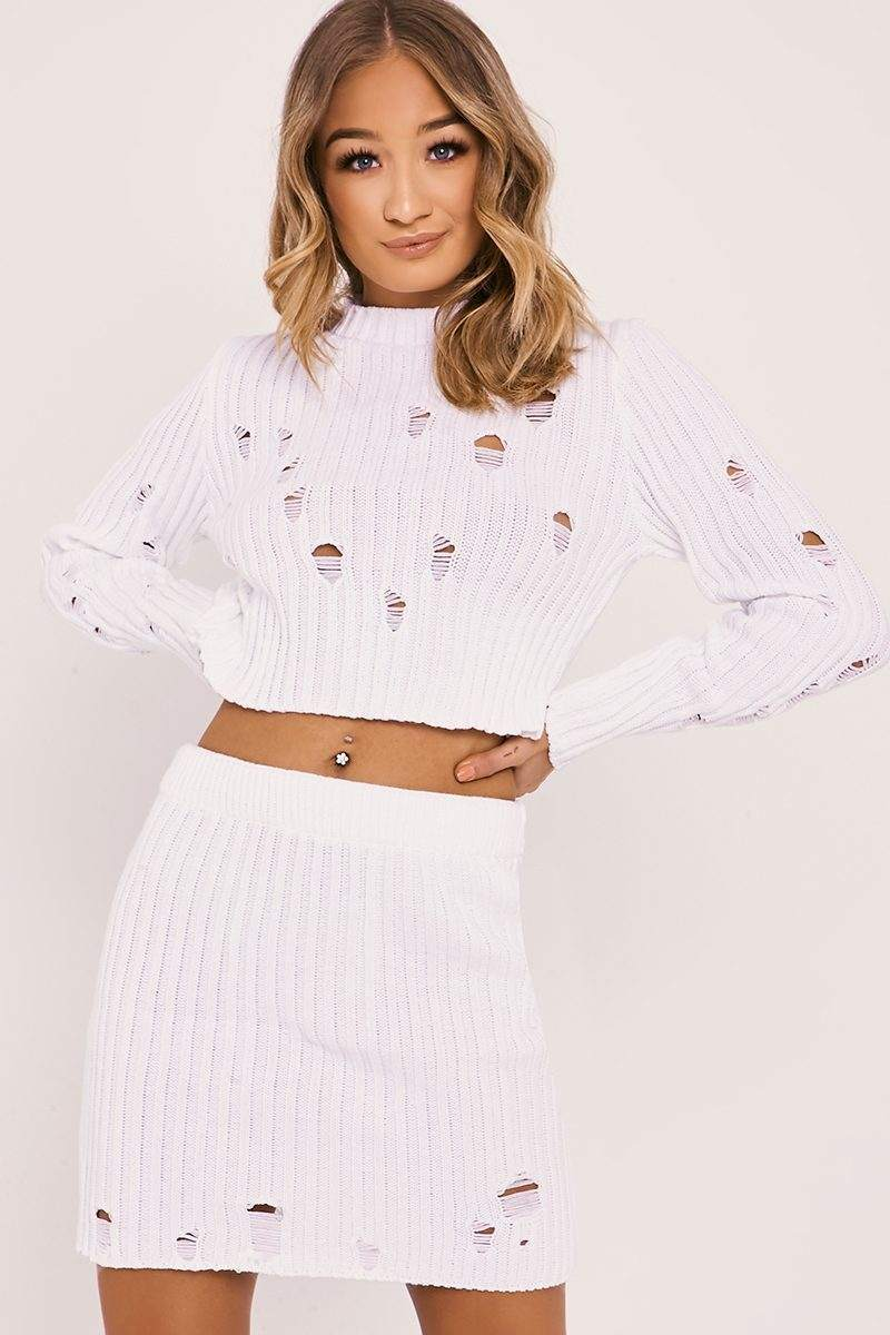 IVEY WHITE DISTRESSED KNIT TOP AND SKIRT
