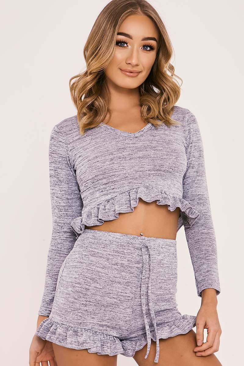 grey frill detail top and shorts lounge set