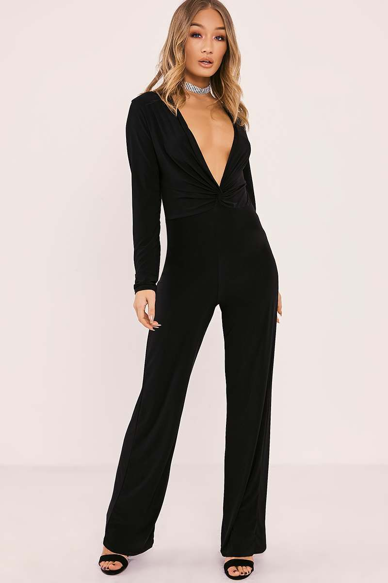 black slinky twist knot front jumpsuit