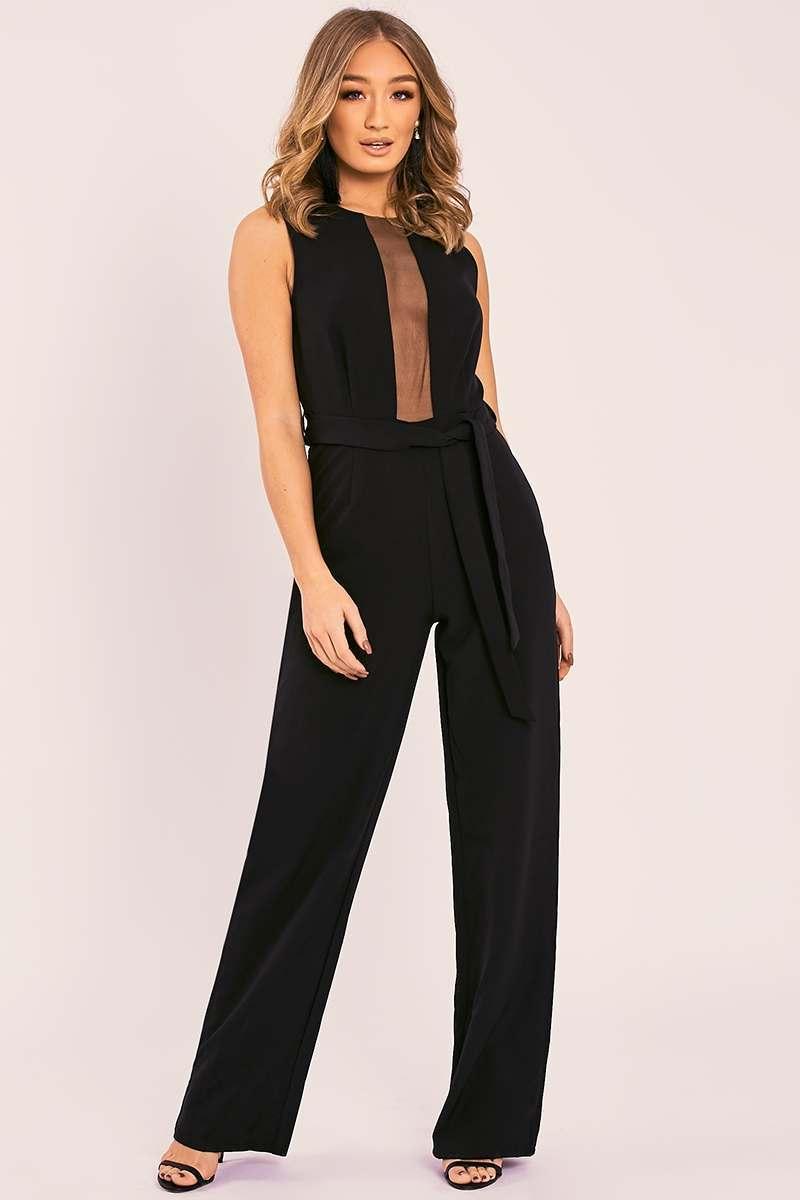 black mesh panel tie waist wide leg jumpsuit