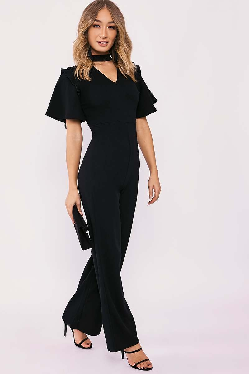 TRYSTEN BLACK CUT OUT CHOKER NECK JUMPSUIT