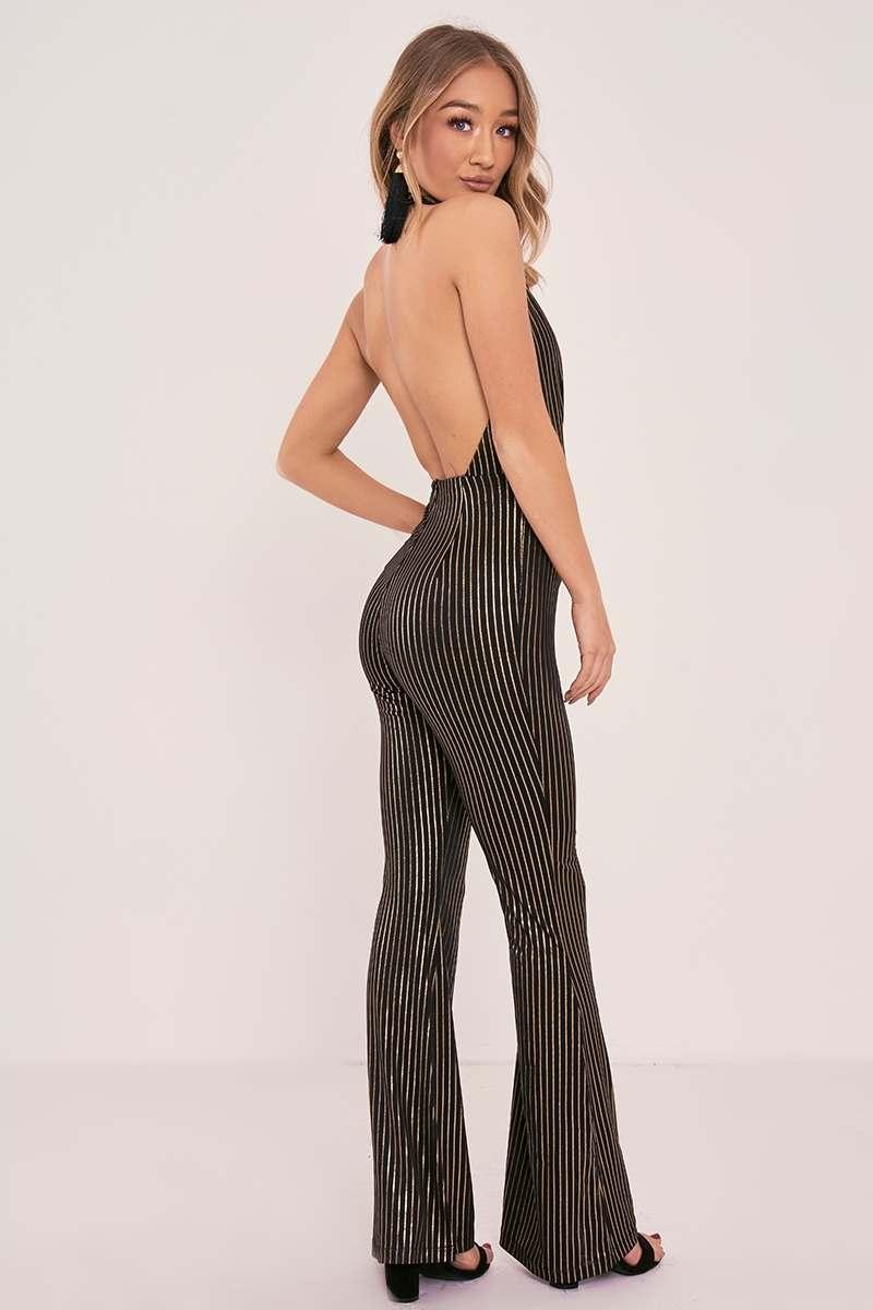 black stripe plunge halterneck jumpsuit