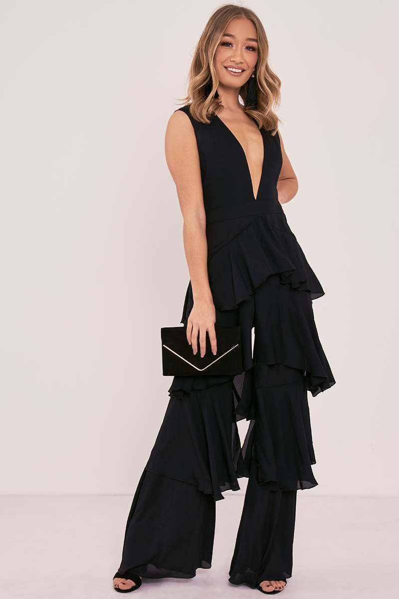 black plunge tiered ruffle jumpsuit
