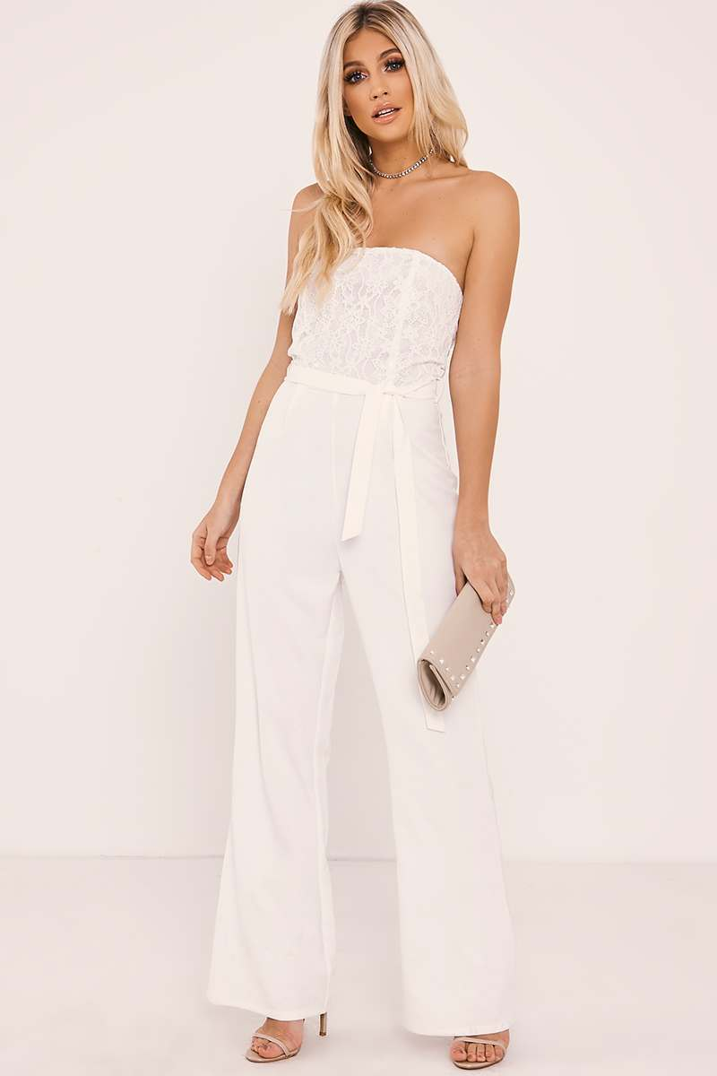 WYNNE WHITE BANDEAU LACE TOP PALAZZO JUMPSUIT