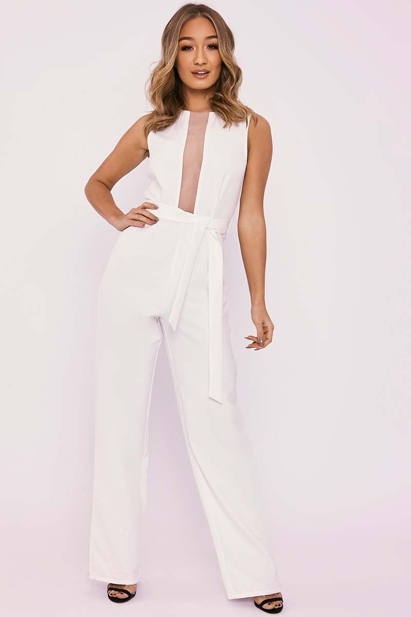 PALMER WHITE MESH PANEL TIE WAIST WIDE LEG JUMPSUIT