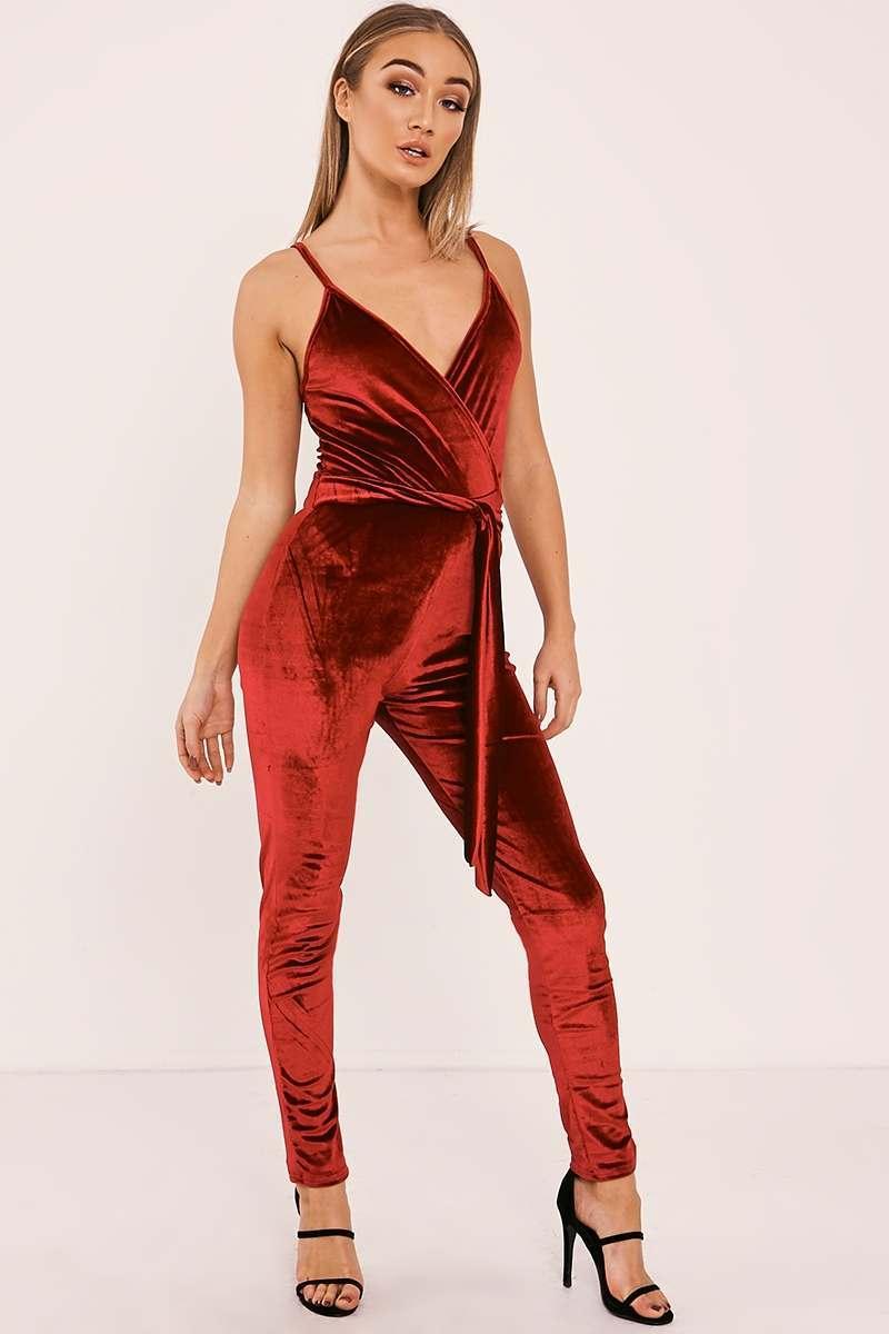 wine velvet wrap front jumpsuit