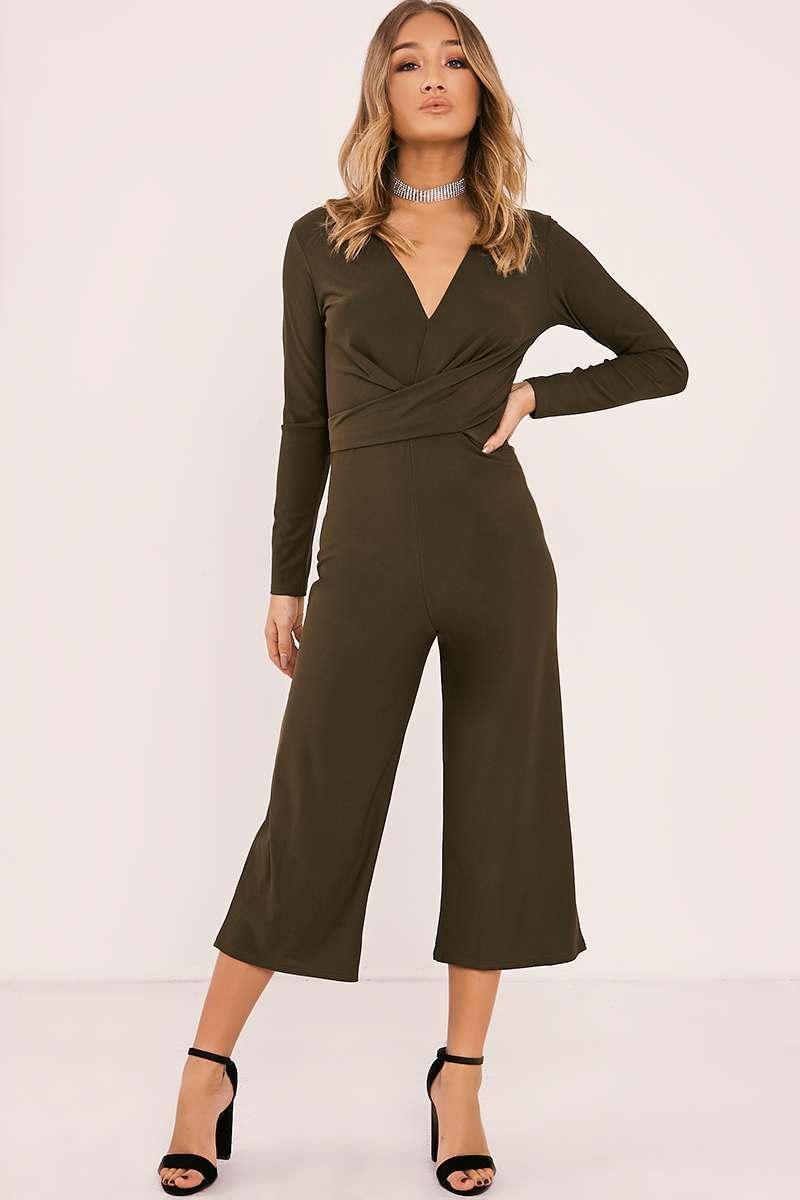 khaki wrap front culotte jumpsuit