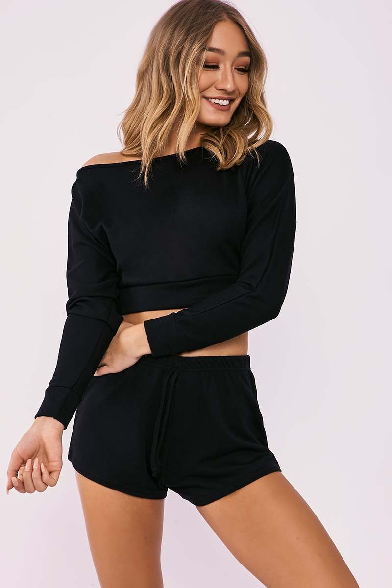 black one shoulder top and shorts lounge set