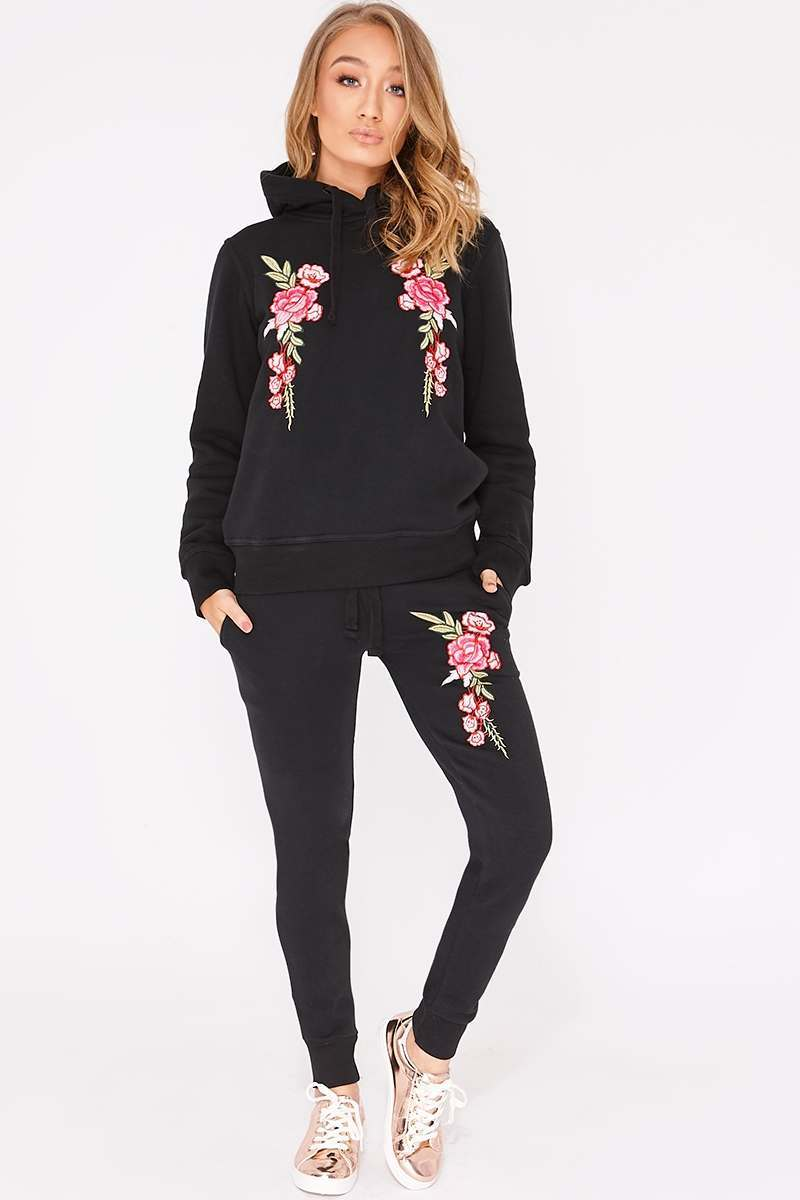 black floral embroidered hooded loungewear set