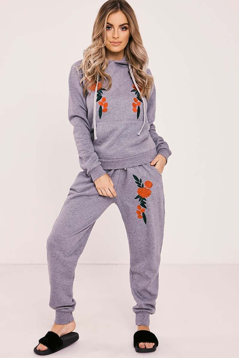 DEANN GREY MARL FLORAL EMBROIDERED HOODED LOUNGEWEAR SET