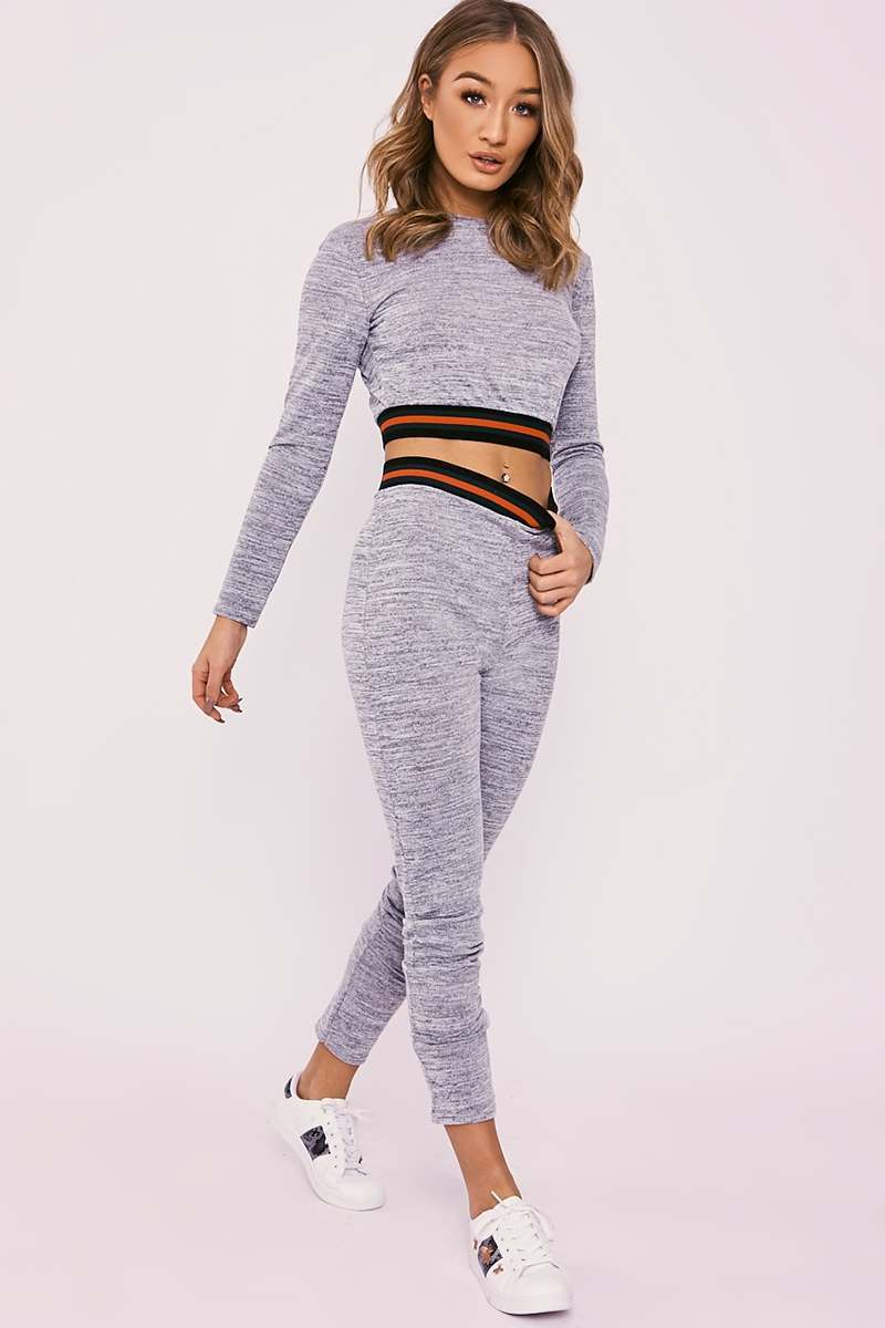 CELA GREY MARL SPORTS STRIPE CROPPED KNITTED LOUNGEWEAR SET