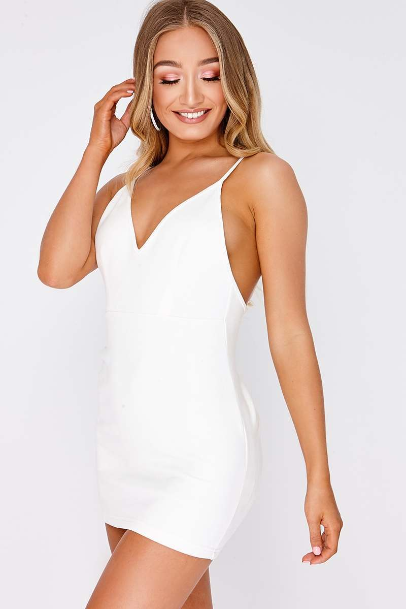MYRINA WHITE FAUX SUEDE PLUNGE RUCHED BACK BODYCON DRESS