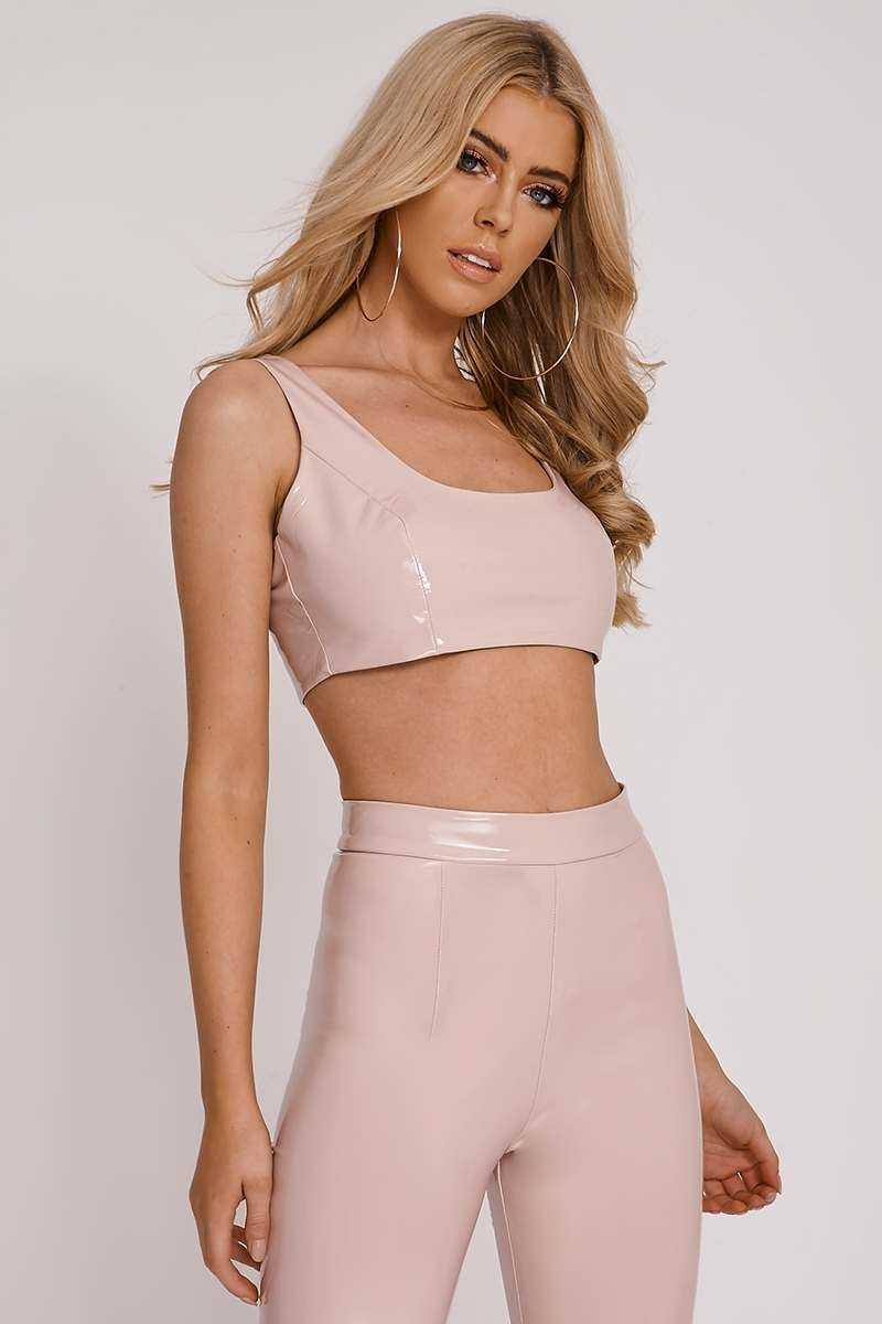 OLIVIA ATTWOOD PINK VINYL SQUARE NECK CROP
