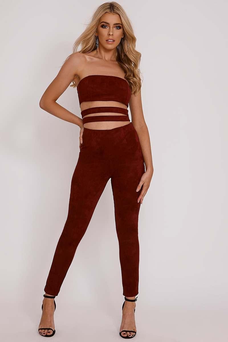 attwood burgundy faux suede leggings