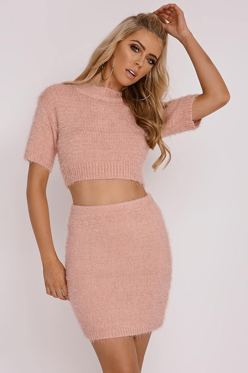 OLIVIA ATTWOOD PINK EYELASH KNIT MINI SKIRT