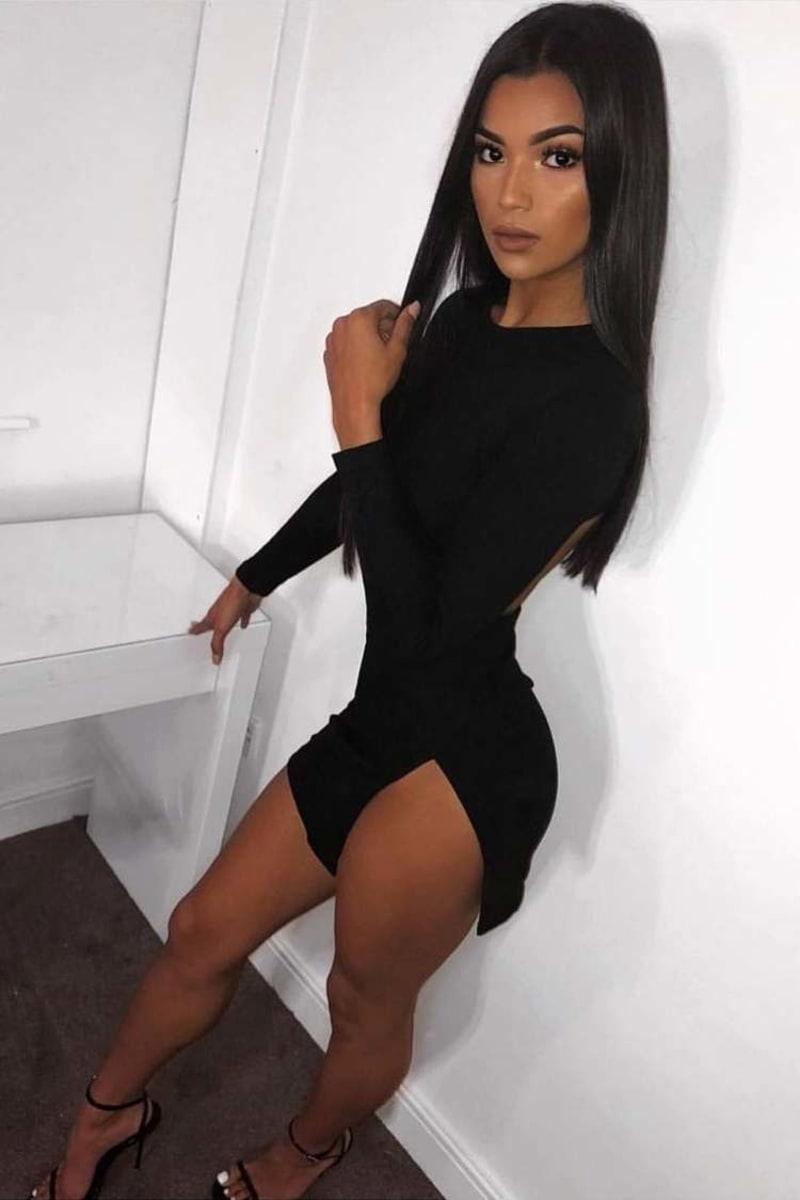 black faux suede cut out back mini dress