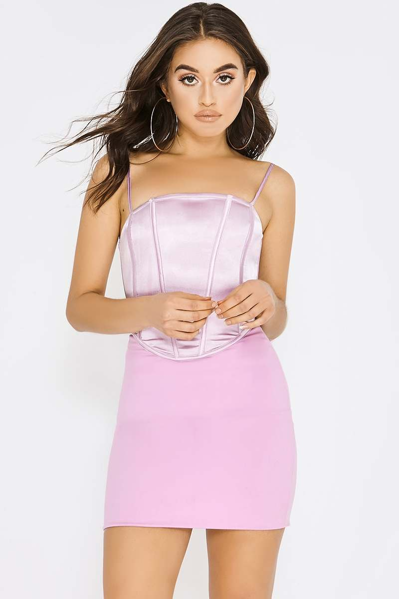 lilac satin corset dress