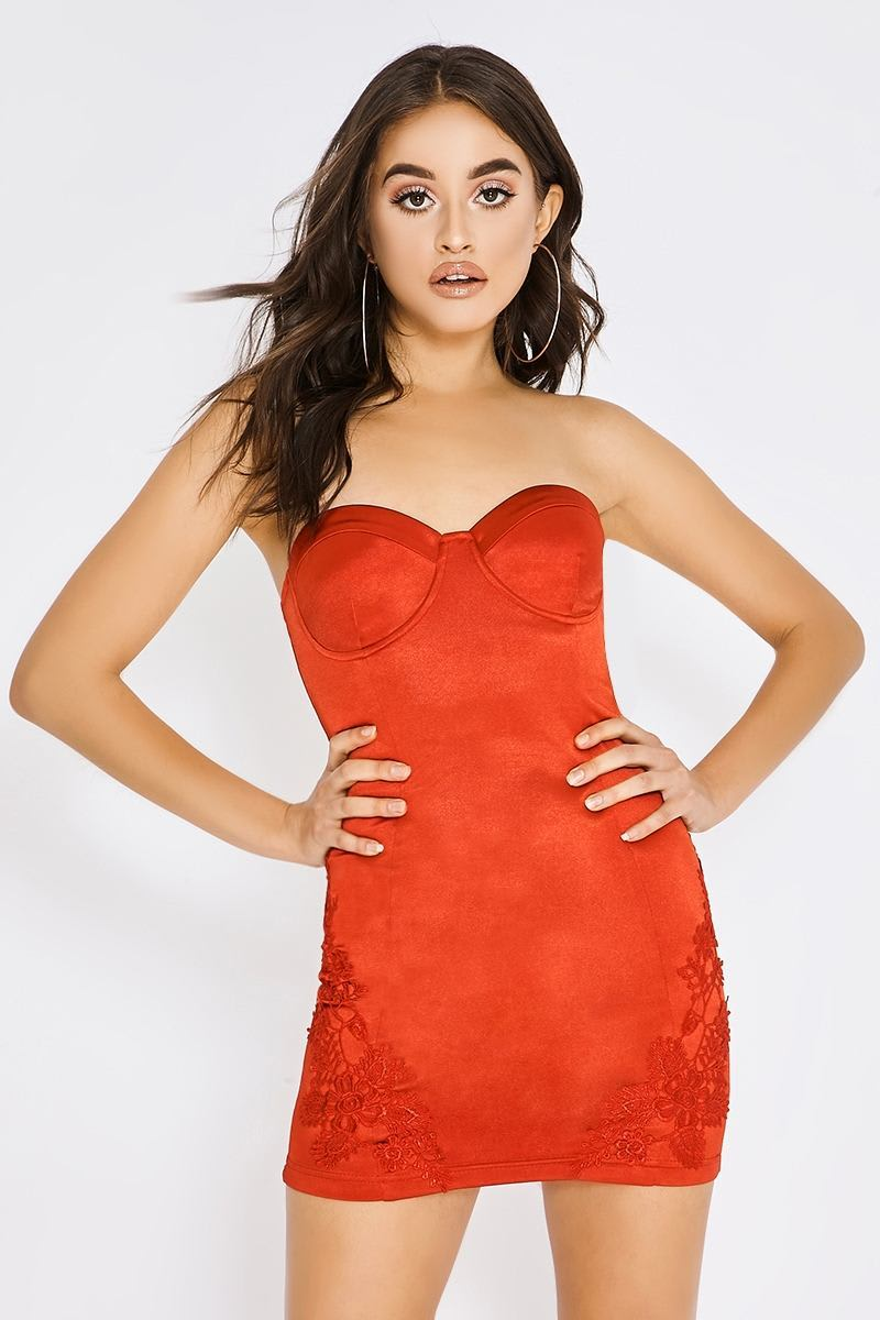 PIA MIA RED SATIN APPLIQUE DRESS